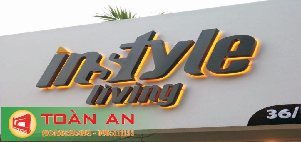 Mẫu biển quảng cáo chữ nổi Intyle living