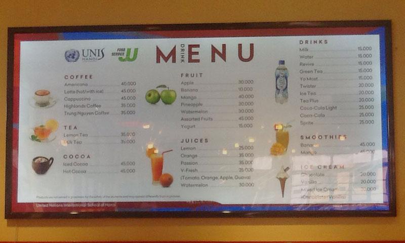 Biển siêu mỏng làm menu